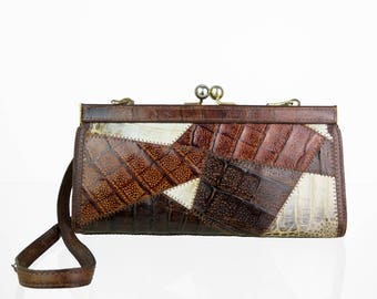 Vintage real leather Patchwork handbag