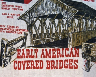 Vintage Early American Covered Bridges Linen Towel in Red and Brown Tones by West Country Press / Wall Hanging/ Natural Linen Tea Towel