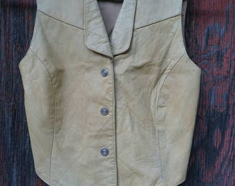 Womens XS tan Leather Wilsons Vest