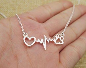 Heart Necklace, Pet Necklace, Heartbeat Necklace, Heart Beat Necklace (Sharing The Same Heartbeat) (READ DESCRIPTION)