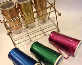 Set 6 Vtg. Aluminum 10 oz Tumblers~Multi Colors~w Caddy~Rare to see with handles