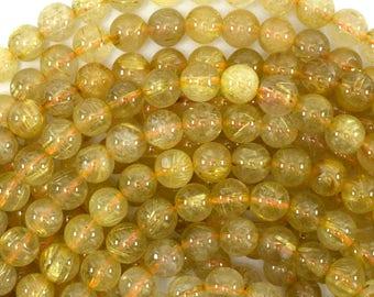 "7.5mm gold rutilated quartz round beads 15"" strand 39129"