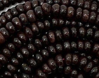 """8mm red garnet rondelle beads 15.5"""" strand 38740"""