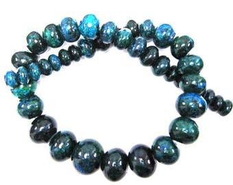 "10-20mm blue green azurite rondelle beads 16"" strand 33993"