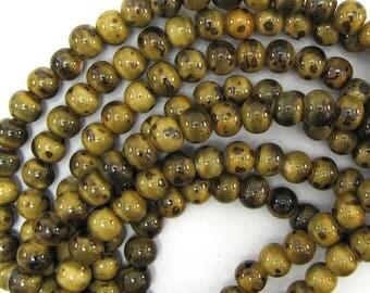 "8x10mm brown ceramic porcelain rondelle beads 8"" strand 23pcs 12957"