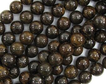 """10mm bronzite round beads 15.5"""" strand 17839"""