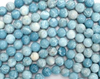 """6mm blue larimar quartz round beads 15.5"""" strand 38006"""