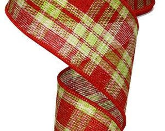 2.5 x 10 yrds - Green and Red Plaid ribbon, red and green plaid ribbon, Christmas Ribbon, Green ribbon, Red ribbon, red and green ribbon