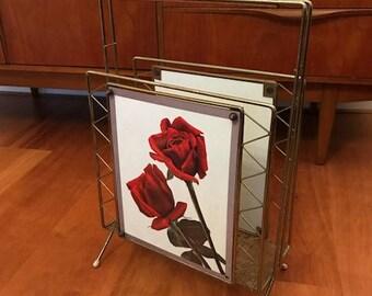 Vintage magazine rack / roses / mid century / brass / teak / retro design