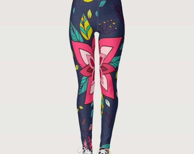 Pink Floral Boho Leggings with Navy Background