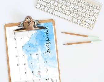 2018 Desk Calendar 2018 Monthly Desk Calendar Watercolor Calendar Planner Office Calendar Office Planner Instant Download Office Calendar