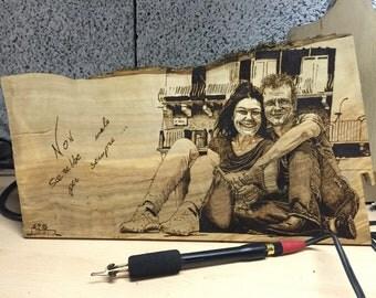Ritratto pirografia su legno. Pyrography portrait on wood