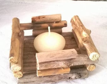 For decor Driftwood candle holder