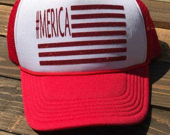 Merica Trucker Hat, Fourth of July Hat, Flag Hat