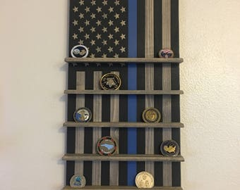 Brothers In Blue Flag Challenge Coin Rack, Police, LEOs