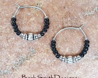 """Beaded Black and Nickel Oxide Stainless Steel Hoop Earrings, Small 3/4"""" Diameter"""