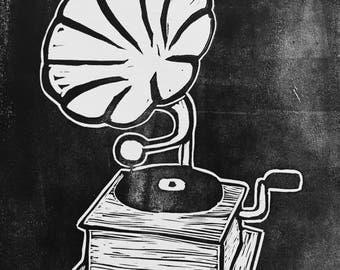 Gramophone Linocut Print