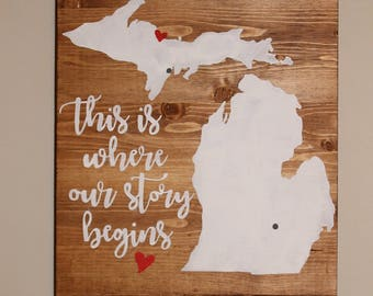 This Is Where Our Story Begins | Love Story Sign | Wedding Sign | Anniversary Sign | State Sign | How We Met Sign | Where It All Started