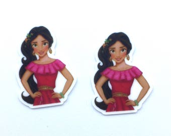 Set of 2-Elena of Avalor flat back resins, hair bow centers, cabochons, headband, craft embellishment, craft supply