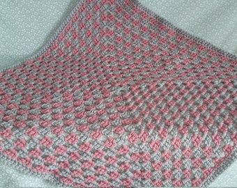 Handmade chunky crochet baby blanket - pale rose pink and silver