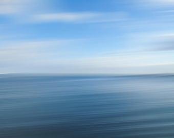 Abstract Blue Sea,Ocean Fine Art Photography, Blue Sky, Minimal Room Decor Water Photography