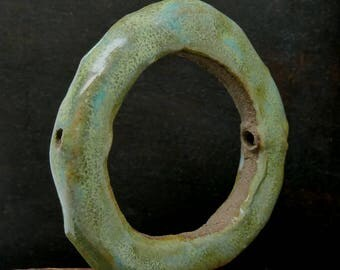 Stoneware Circle Round Pendant Green Speckled Rustic Handmade Pottery