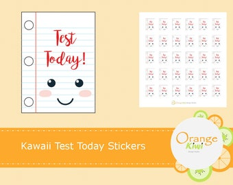Kawaii Test Today Stickers, School Stickers, Study Stickers, Kawaii Stickers, Student Stickers, Planner Stickers