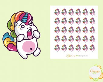 Shocked Unicorn Stickers, Unicorn Stickers, Erin Condren Life Planner, Happy Planner, Filofax