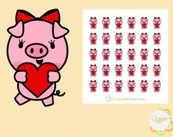 Pig Valentine's Day Stickers, Pig Love Stickers, Pig Red Heart Stickers, Pig Planner Stickers
