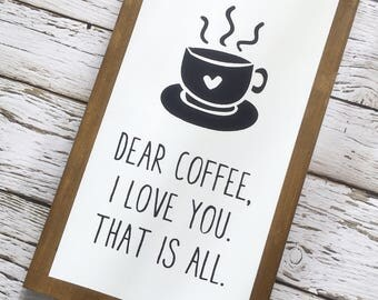 Coffee sign with faux wood frame