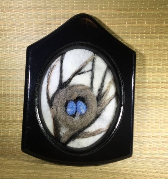 3D Felted bird nest with blue bird eggs