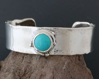 Sterling Silver and Turquoise Cuff Bracelet - Silver Cuff - Blue Turquoise Bracelet - Wide Cuff - Statement Bracelet - Sterling Cuff