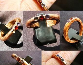 Bronze Ring bling BlueRed