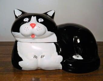 Vintage 1985 Ceramic Cat Cookie Jar