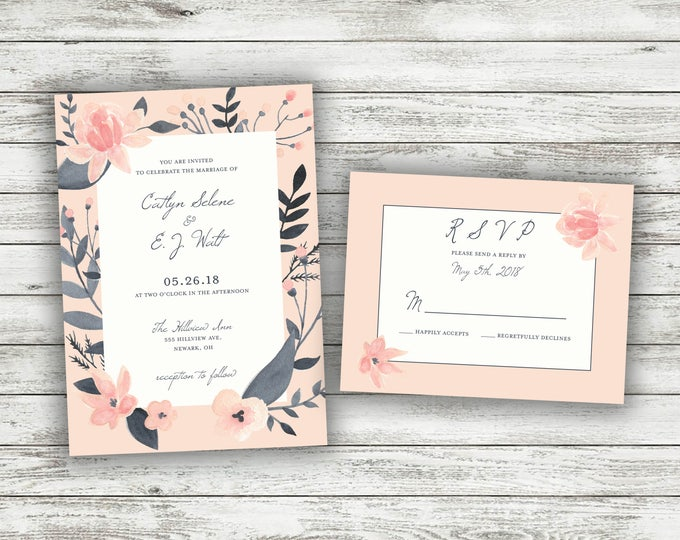Floral Wedding Invitation Printed Set, Succulent Wedding Invitation, Cheap Wedding Invitation, Blush Pink Gray Ivory Wedding Invite, Flowers