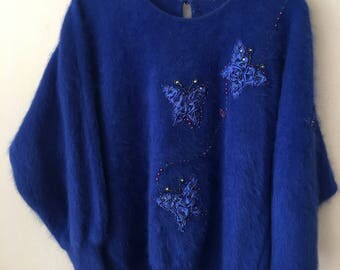 Really warm pullover from real cashmere genuine&soft pullover, vintage style handmade modern pullover casual style women's blue size-medium.