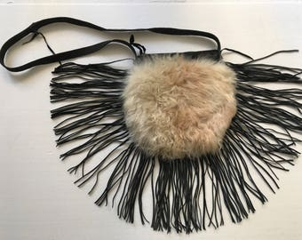 Magnificent bag from real sheepskin&leather with fashionable leather fringe new collection designer handmade women's black bag size-small.