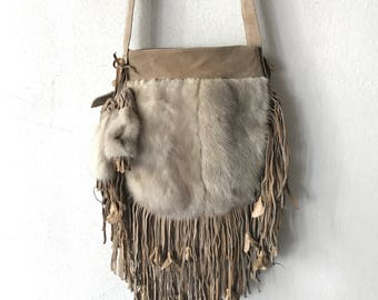 Incredible bag from real mink fur&suede with fashionable suede fringe new collection designer bag handmade women's beige bag has size-small.