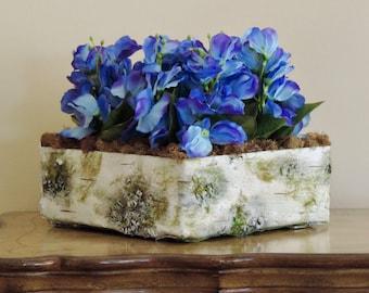 Blue flower arrangement, Artificial flowers with tree bark and moss flower pot