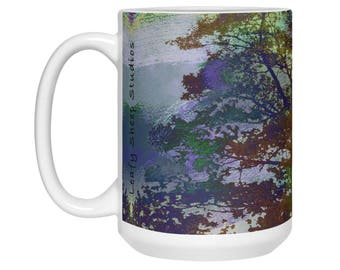 Large Autumn Tree Coffee Mug, Colorful fall art, Pretty mug, Thanksgiving Coffee Mug,