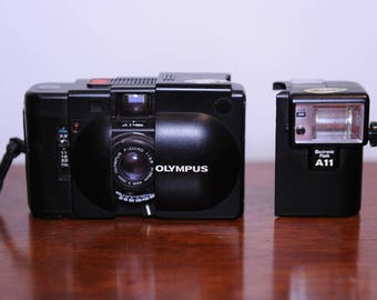 Olympus XA3 35mm Rangefinder Camera with A11 electronic flash and 35mm Olympus Zuiko F3.5 lens #233