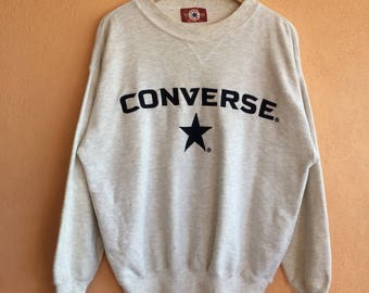 Vintage 90s Converse All Star Sweatshirt Big Logo Spell out Embroidery Pullover Jumper Crewneck Sweater Size L