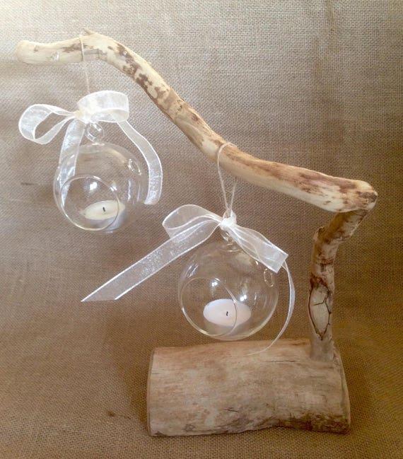 Photophore bulle boules en verre sur branche et socle de bois - Branche en bois decorative ...