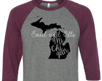 Michigan t-shirt - Michigan state shirt - Michigan home t-shirt - home shirt - Michigan baseball shirt - Michigan raglan shirt-Enid and Elle