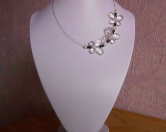 Wedding flight of translucent and black Butterfly Necklace