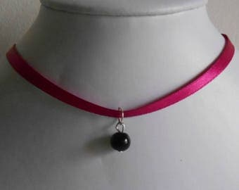 Wedding necklace adult/child satin ribbon and black pendant
