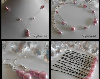 Set of 4 wedding pieces cascade of old pink beads