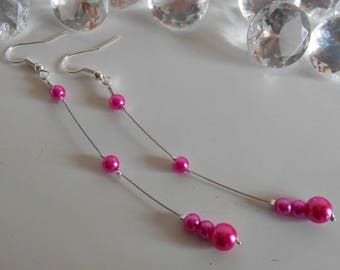Wedding earrings Pearl Fuchsia