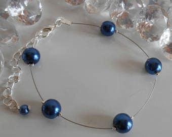 Simplicity wedding bracelet dark blue beads