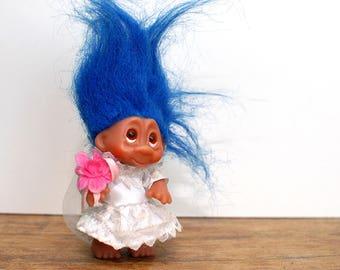 Vintage Dam Troll Bride , troll doll, collectible troll , blue hair troll , vintage troll ,